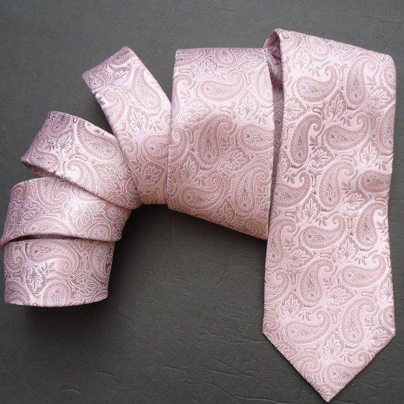 MICHAEL Michael Kors Tie 100% Silk Pink Paisley.